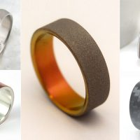 Men's Modern Wedding Rings / Bands in unique materials such as carbon fiber (black), whiskey barrel wood, antler horn, meteorite, and even recycled shotgun metal