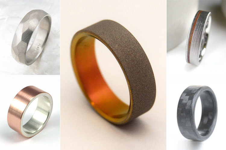 mens modern wedding rings bands in unique materials such as carbon fiber black - Contemporary Wedding Rings