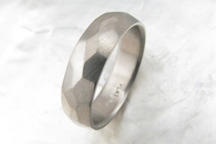 Modern Faceted Platinum Men's Wedding Ring | Ravens Refuge Mens Wedding Band