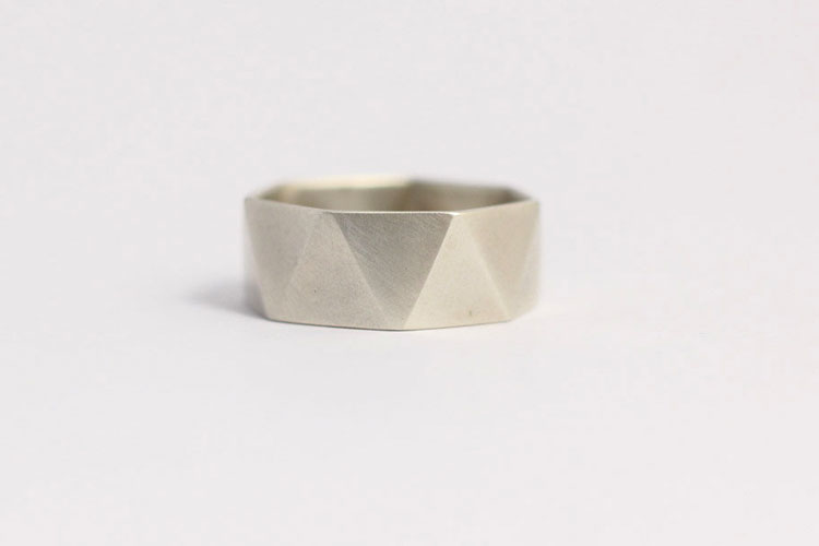 Modern Geometric Faceted Men's Wedding Ring in Matt White Gold by Ash Hilton