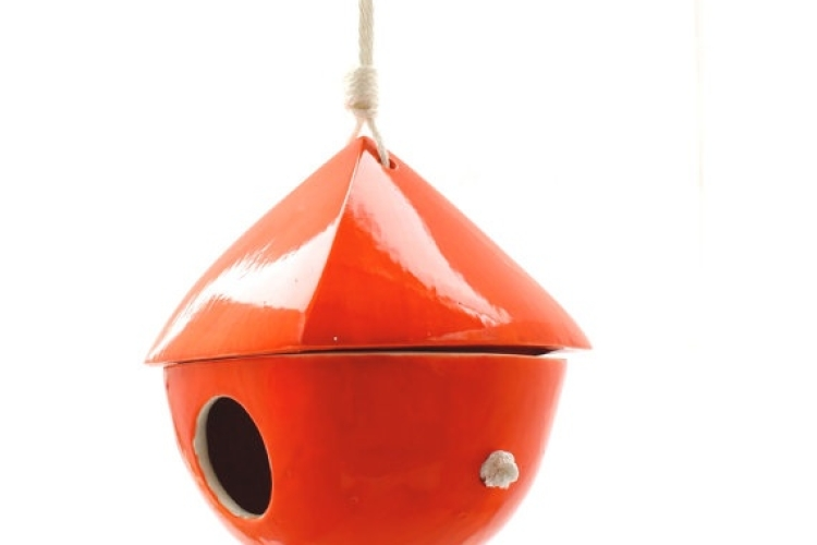 Modern Red Porcelain Birdhouse