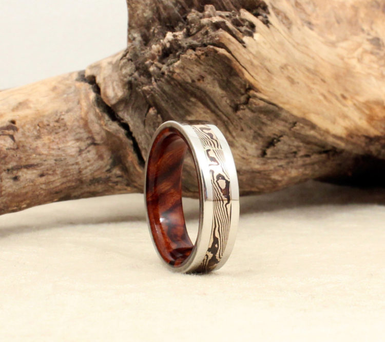 Cobalt Mokume-gane & Ironwood Burl Wooden Men's Ring by Wedgewood Rings