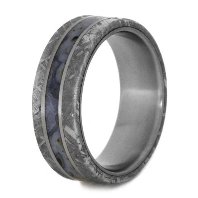 Dinosaur Bone, Meteorite, and Titanium Wedding Ring by Jewelry by Johan