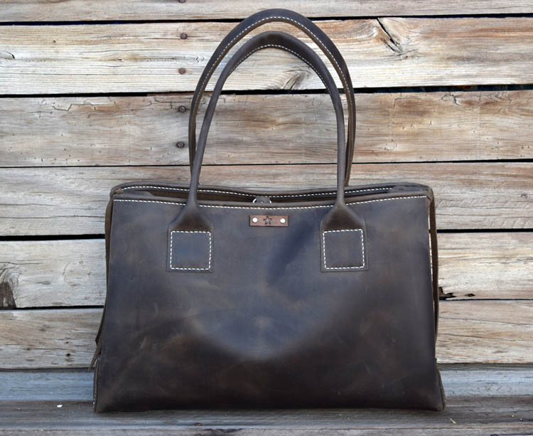 Large Hand Stitched Leather Bag by Feral Empire