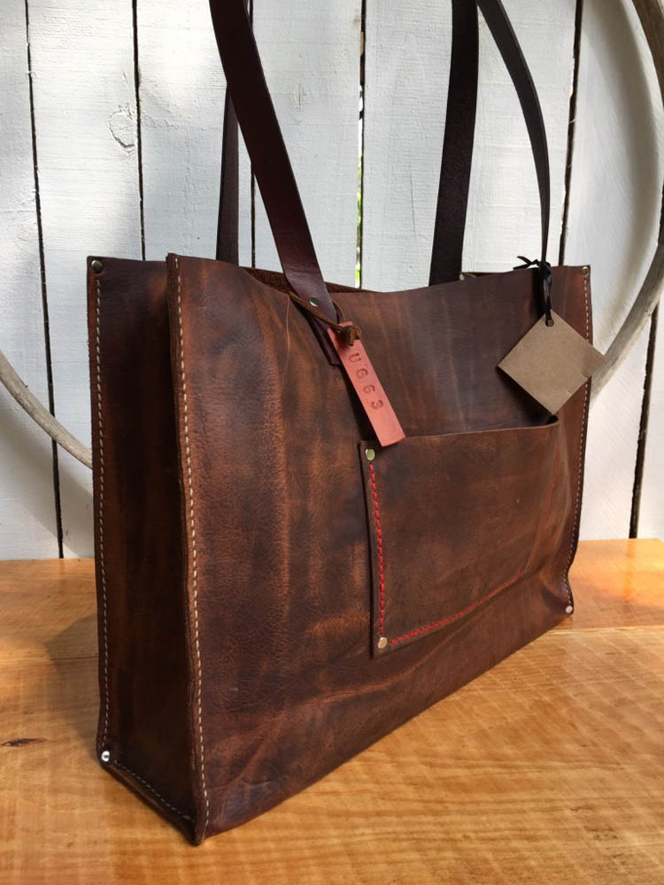 Distressed Brown Leather Bag with Removable Cross Body Strap by Urban Gorilla