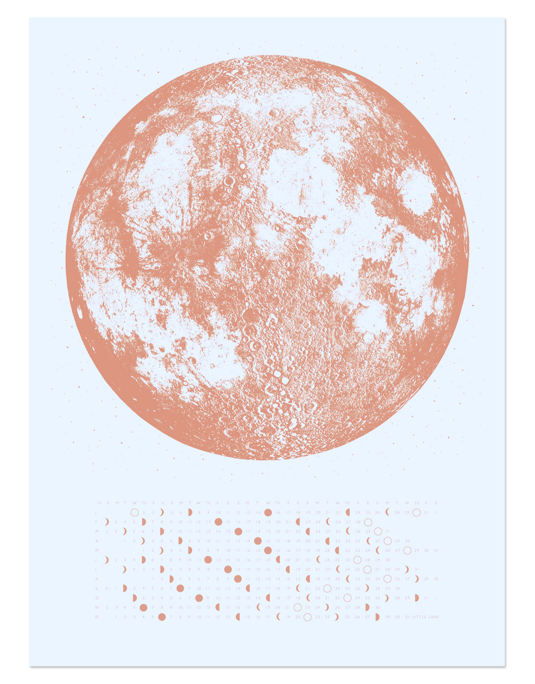 2016 Moon Phases Calendar in Copper by A Little Lark [buy online]