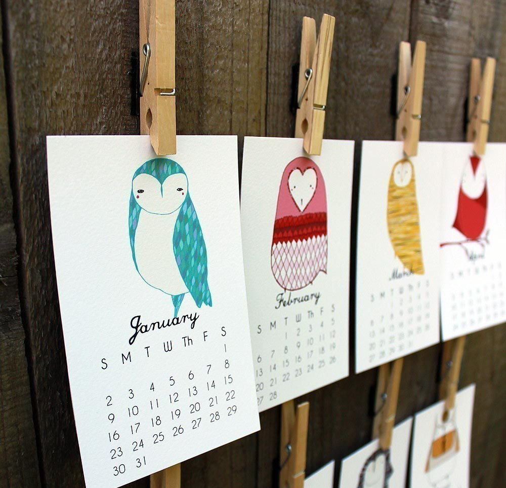 Little Owls 2016 Calendar by Gingiber 2