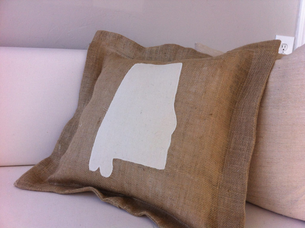 Alabama Burlap Cushion by Bearing Tree