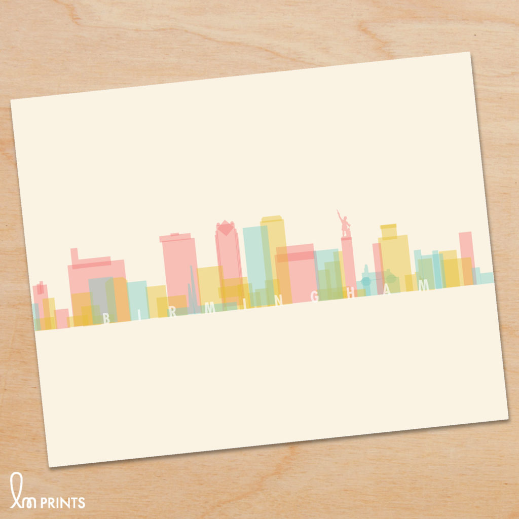 Birmingham Skyline Print by Lauren Mary