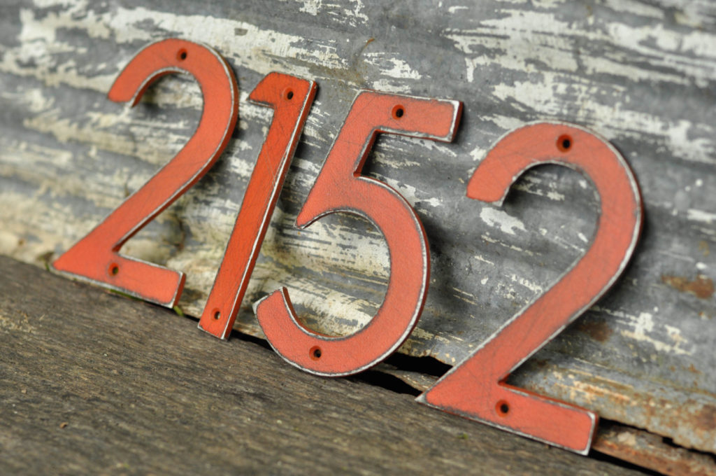Distressed Auminium Numbers by Drop Metal