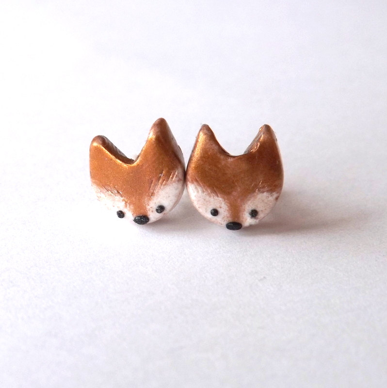 Fox Earrings by Pitter Patter Polymer