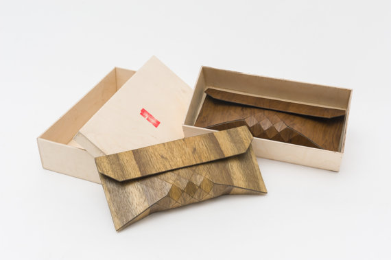 Tesler + Mendelovitch Wooden Clutches arrive in their own wooden packaging