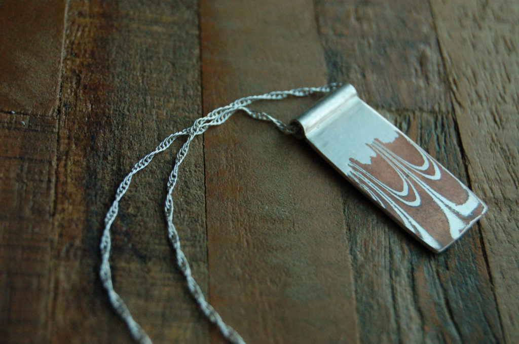 Mokume Gane Rectangle Pendant Necklace by Elm Design