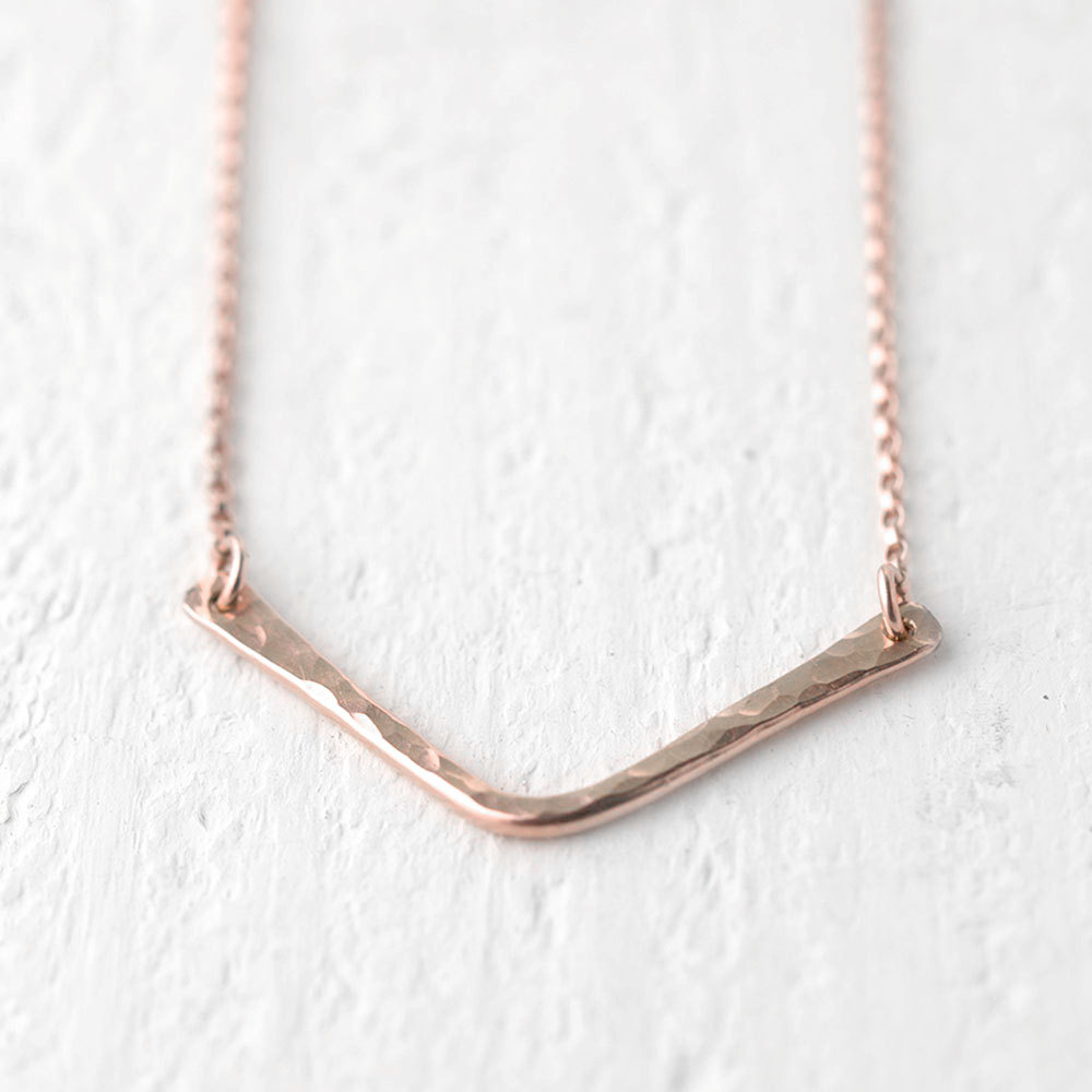 Rose Gold Chevron Necklace by Burnish