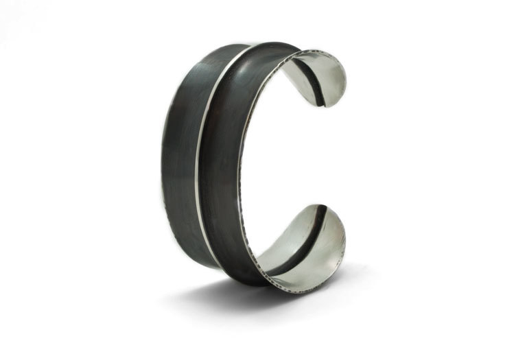 Silver and Black Cuff by Alex Metal Arts
