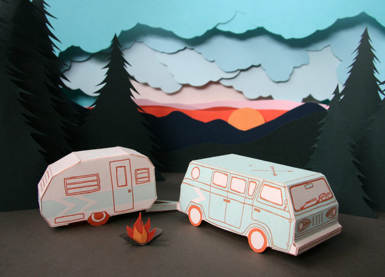 3D Letterpress Camper Van Card by Blackbird Press