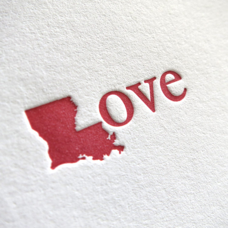 Louisiana Love Letterpress Note Card by Presse DuFour
