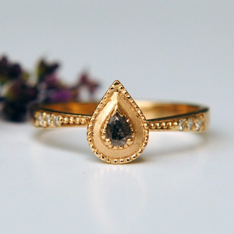 Pear-shaped grey diamond and gold ring by Abhika Jewels [buy]