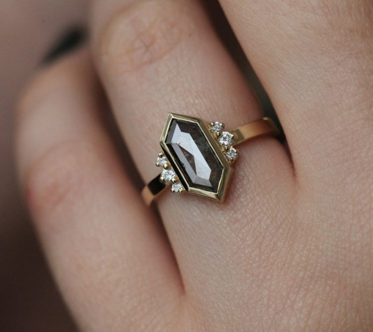 Hexagonal grey diamond ring with yellow gold band by Capucinne [buy]