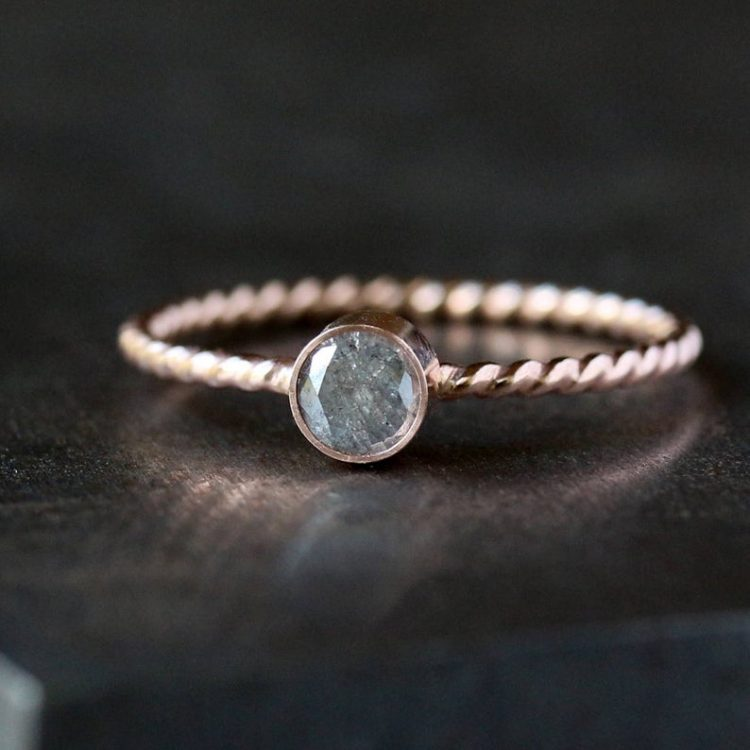 Natural grey diamond ring with rose gold twist band by Clementine [buy]