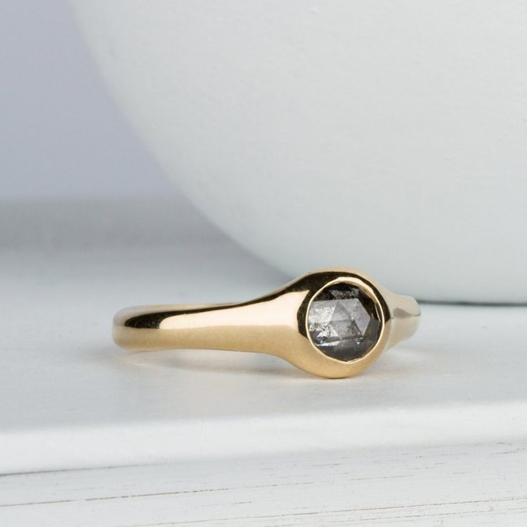 Modern salt and pepper diamond ring with gold band by Corey Egan [buy]