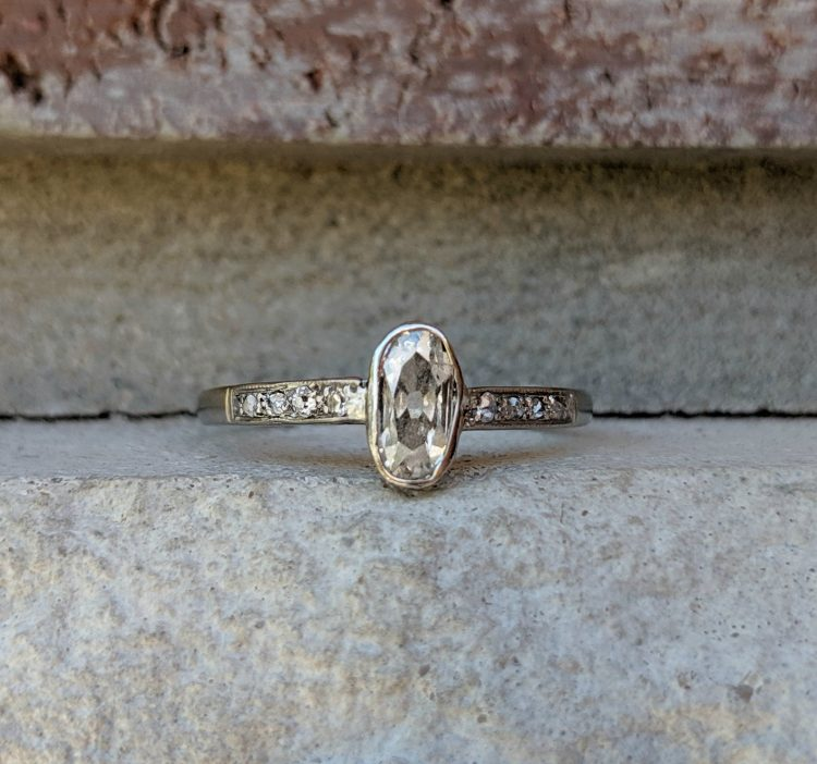 Antique Edwardian oval grey diamond engagement ring by Cypress Creek Vintage [buy]