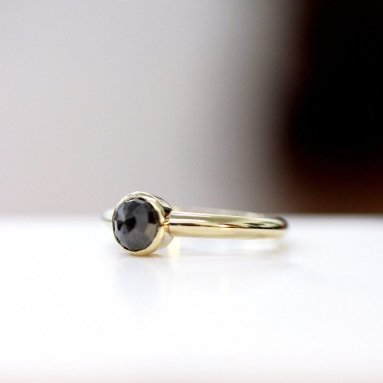 Minimal, handmade,  rose cut, grey diamond engagement ring with yellow gold band by Down To The Wire [buy]