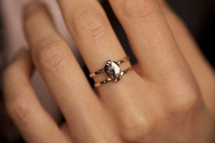 Double band, rustic salt and pepper diamond engagement ring on gold band by Emeraki [buy]