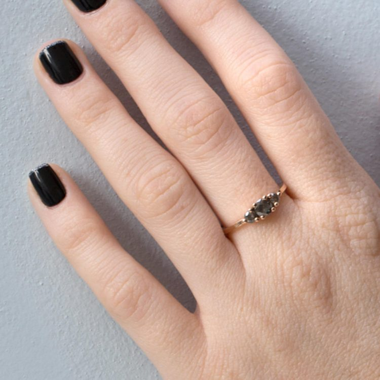 Minimal, handmade grey diamond engagment ring on gold band by Hot Crown [buy]