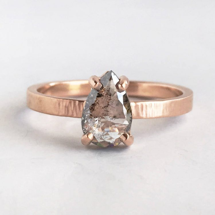 Modern, pear shaped, conflict-free, salt and pepper diamond ring on recycled gold  band by Meander Works / Marilyn Brogan [buy]