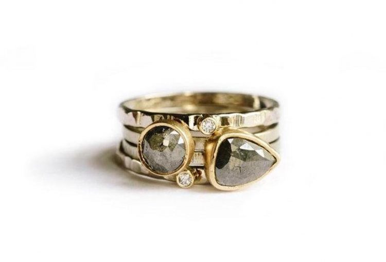 Gray diamond stacking rings on hammered recycled gold bands by Melissa Tyson [buy]