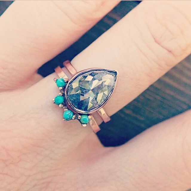 Stacking grey diamond engagement ring with turquoise and gold  wedding , by Moss N Stone [buy]