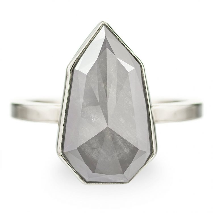 Modern, geometric grey diamond ring on white gold band by Point No Point Studio [buy]