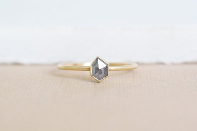 Modern, hexagon grey diamond ring by Sofi and Amia [buy]