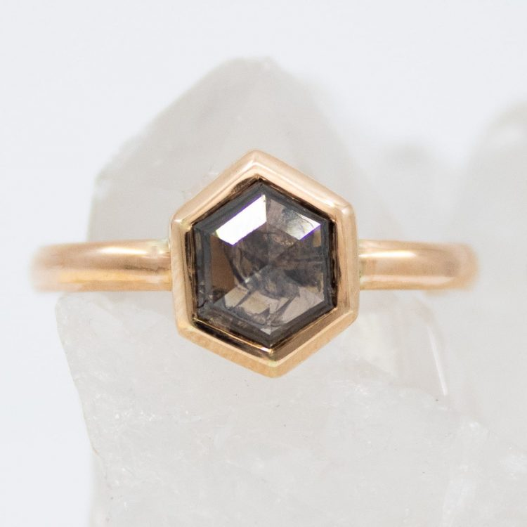 Hexagon brown grey diamond solitaire ring by Sophia Perez [buy]