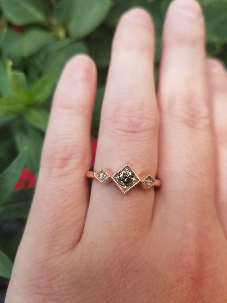 Art Deco style grey diamond engagement ring on rose gold band [buy]