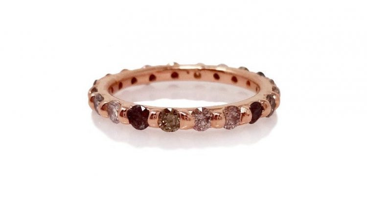 Brown and grey diamond eternity ring set in rose gold band by Thorn of an English Rose [buy]